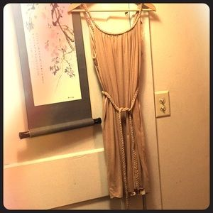 Pale pink dress with belt